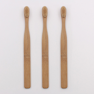 Straight Shape Flat Handle Bamboo Toothbrush